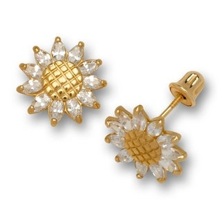 14K Gold Cubic Zirconia Textured Sun-flower Post Stud Screw-back Earrings (10mm) (yellow or white gold)