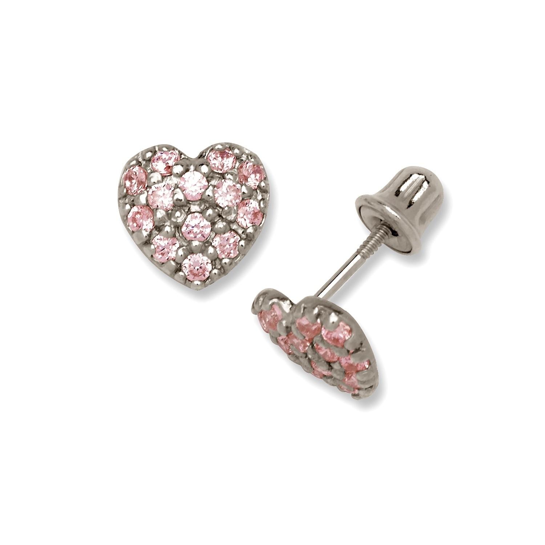 Pink Opal 5mm Heart /& Diamond Stud Earrings White Gold Silver