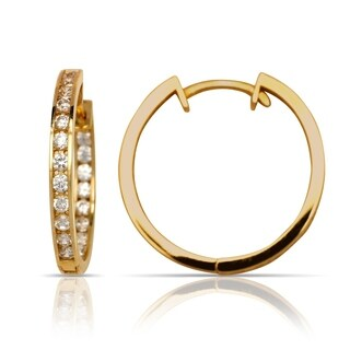 14k Gold Channel-set Cubic Zirconia Inside-out Hinged Hoop Earrings (2mm x 24mm) (yellow or white gold)