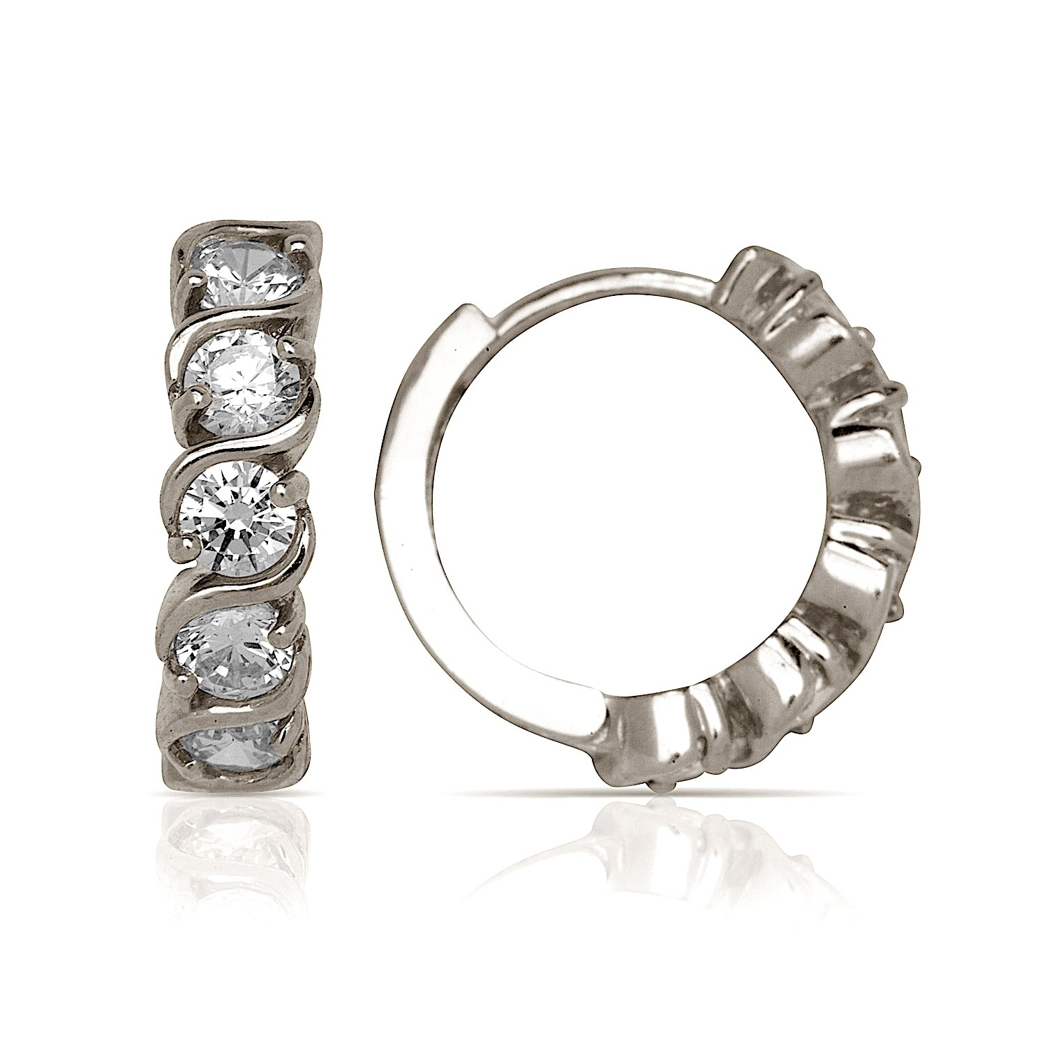 14k Gold Cubic Zirconia S Design Hinged Hoop Earrings 4mm X 14mm Yellow Or White