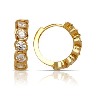 14k Gold Cubic Zirconia S Design Hinged Hoop Earrings (4mm x 14mm) (yellow or white gold)