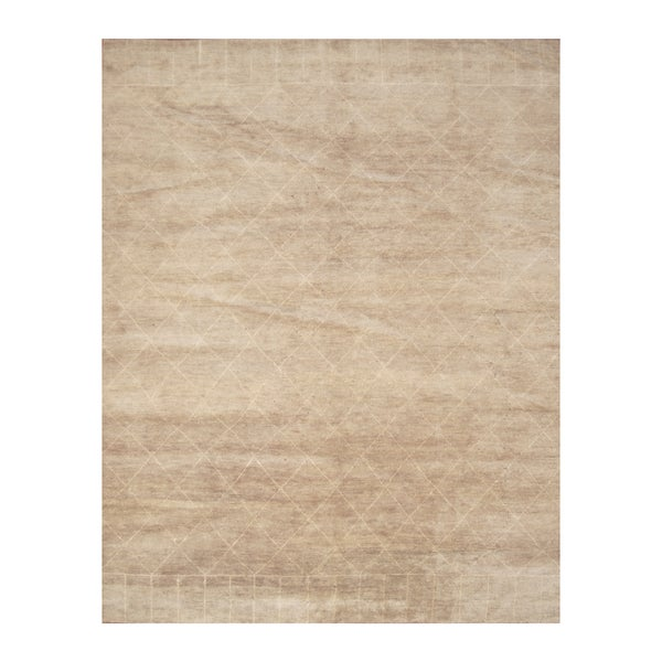 Handmade Herat Oriental Indo Hand-knotted Moroccan Wool Area Rug - 9' x 11'6