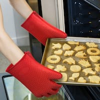 Chef Buddy Silicone Oven Gloves- Safe Nonslip Grip Heat Resistant Pair of Mitts/Potholders