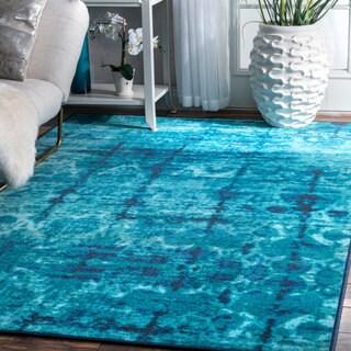 nuLoom Vintage Inspired Misty Wave Stripes Blue Nylon Rug (8' x 10')