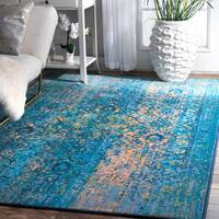 nuLoom Blue Vintage-inspired Twilight Floral Vines Rug (8' x 10')