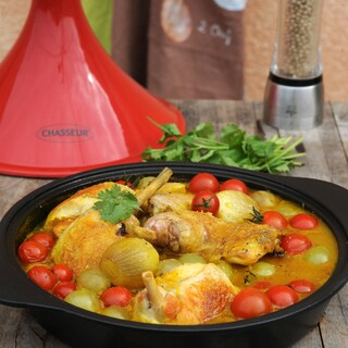 Chasseur 12-inch Cast Iron Tajine with a Ceramic Red Cone Lid