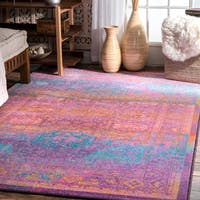 The Curated Nomad Portola Dusk Purple Abstract Bohemian Area Rug - 8' x 10'