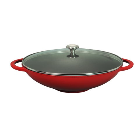 Chasseur 16-inch Red French Enameled Cast Iron Wok with Glass Lid