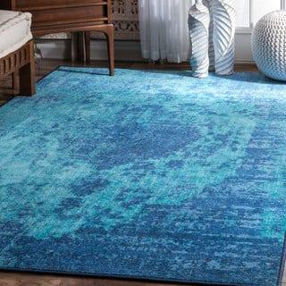 Nuloom Vintage Inspired Vibrant Blue Shag Rug 5 3 X 7 6