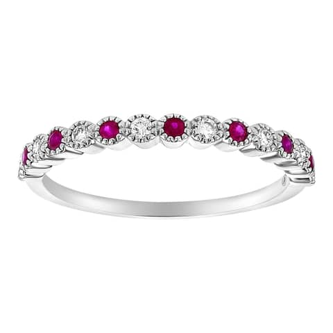 10K White Gold 1/4ct. Ruby and Diamonds Vintage Anniversary Band Ring by Beverly Hills Charm - White H-I - White H-I