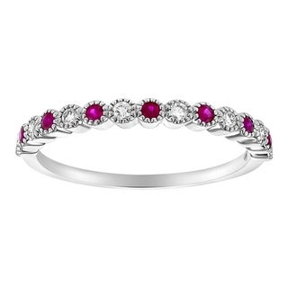 Link to 10K White Gold 1/4ct. Ruby and Diamonds Vintage Anniversary Band Ring by Beverly Hills Charm - White H-I - White H-I Similar Items in Wedding Rings