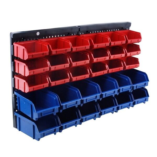 Steel Core 30 Bin Wall Mount Parts Rack