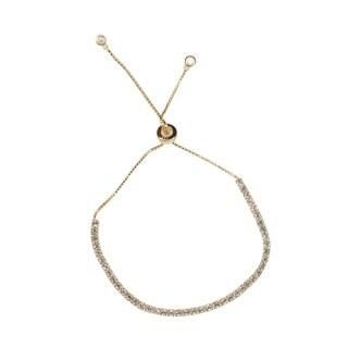 Isla Simone 14K Gold Plated Sterling Silver Drawstring Clear CZ Stone Tennis Bracelet