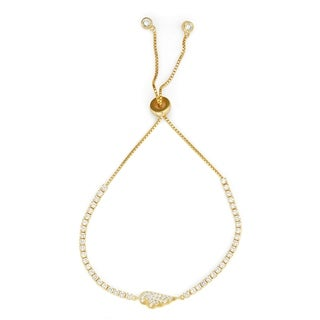 Isla Simone 14K Gold Plated Sterling Silver Drawstring Clear CZ Stone Angel Wing Tennis Bracelet