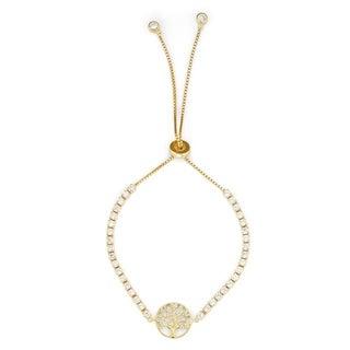 Isla Simone 14K Gold Plated Sterling Silver Drawstring Clear CZ Stone Tree of Life Tennis Bracelet