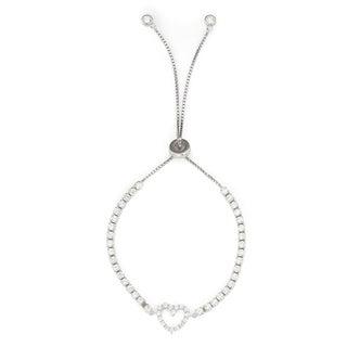 Isla Simone 925 Sterling Silver Adjustable Vertical Heart Tennis Bracelet with CZ Stones