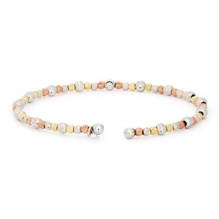 Isla Simone 14K Gold, Rose Gold & Rhodium Plated 925 Sterling Silver Beaded Wave Tri-Tone Bangle Bracelet