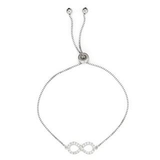 Isla Simone 925 Sterling Silver Drawstring Clear CZ Stone Infinity Symbol Tennis Bracelet
