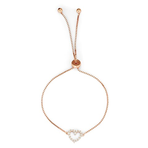 Isla Simone Rose Gold Plated Sterling Silver Drawstring Clear CZ Stone Open Heart Tennis Bracele