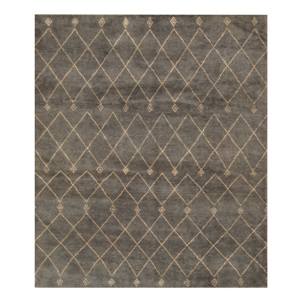 Handmade Herat Oriental Indo Hand-knotted Moroccan Wool Area Rug (8'6 x 10')