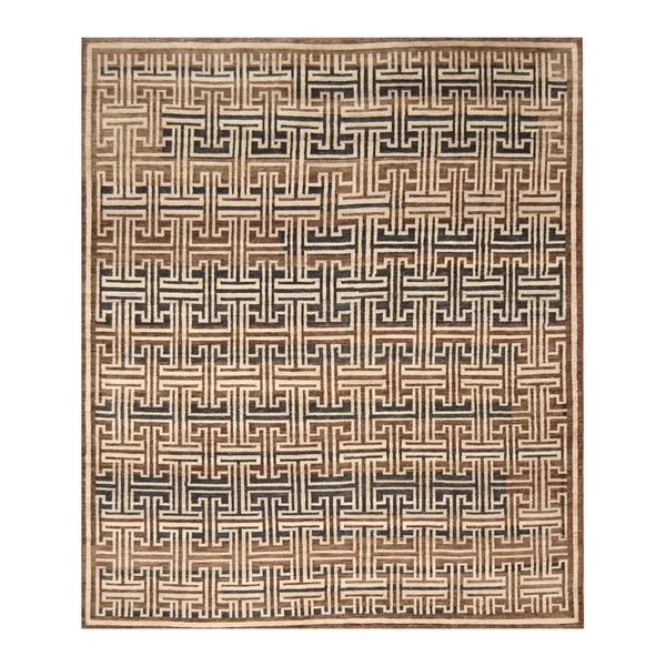 Handmade Herat Oriental Indo Hand-knotted Moroccan Wool Area Rug (8' x 9'8) - 8' x 9'8