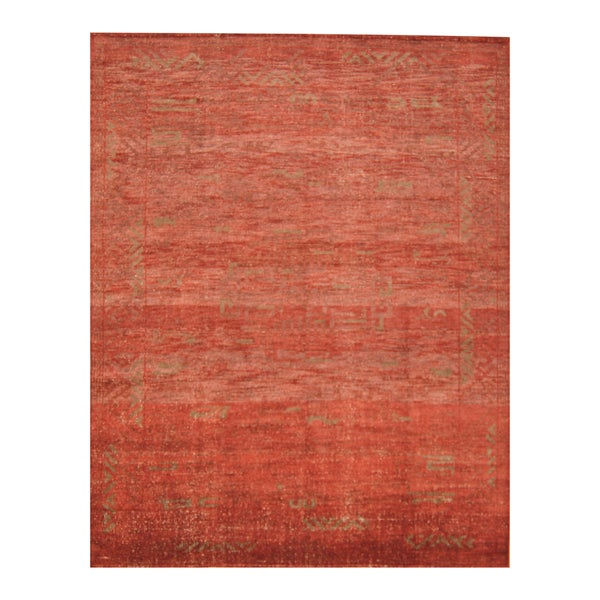 Handmade Herat Oriental Indo Hand-knotted Moroccan Overdye Wool Area Rug - 8' x 9'9 (India)