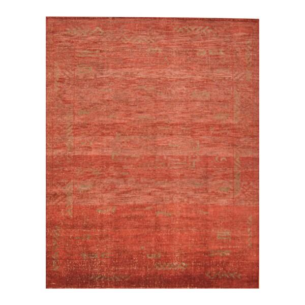 Handmade Herat Oriental Indo Hand-knotted Moroccan Overdye Wool Area Rug - 8' x 9'9