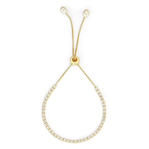 Isla Simone 14K Gold Plated Sterling Silver Drawstring Clear CZ Stone Tennis Bracelet with Faux Pearls
