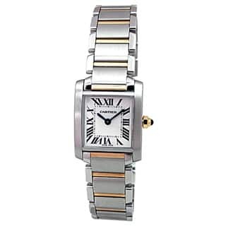 Pre-owned Small Cartier 18k Yellow Gold and Stainless Steel Tank Francaise Watch with Silver Roman Dial|https://ak1.ostkcdn.com/images/products/18273317/P24407646.jpg?impolicy=medium
