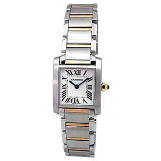 Pre-owned Small Cartier 18k Yellow Gold and Stainless Steel Tank Francaise Watch with Silver Roman Dial