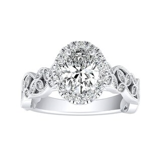 Auriya 14k Gold 3/4ct TDW Oval-cut Diamond Vintage Halo Engagement Ring - White G-H