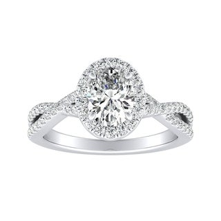 Auriya 14k Gold 4/5ct TDW Oval-cut Diamond Twisted Split Shank Halo Engagement Ring - White G-H