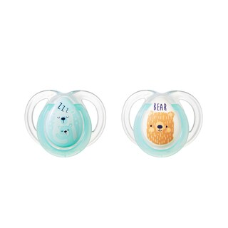 Tommee Tippee Night Time Pacifier - 0-6 Months - 2 Pack - SkyBlue-Clear/Zzz-Bear