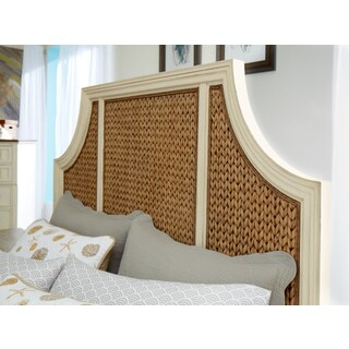 Panama Jack Bridge Hampton Off-white/Brown Wood Woven Headboard