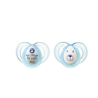 Tommee Tippee Night Time Pacifier - 6-18 Months - 2 Pack - Blue-Gray/ILoveYouBearyMuch