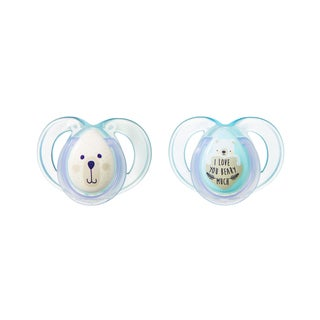 Tommee Tippee Night Time Pacifier - 6-18 Months - 2 Pack - Clear-Blue/ILoveYouBearyMuch
