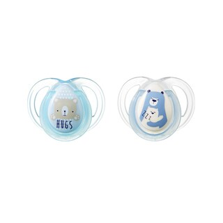 Tommee Tippee Night Time Pacifier - 0-6 Months - 2 Pack - Blue-Clear/Hugs-Zzz