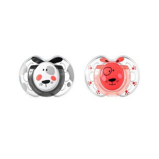 Tommee Tippee Closer To Nature Fun Style Pacifier - 0-6 Months - 2 Pack - Red/Black&White Dog
