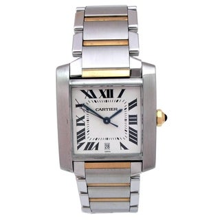 Pre-owned Large Cartier 18k Yellow Gold and Stainless Steel Tank Francaise Watch with Silver Sunray Dial