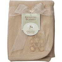 American Baby Company Organic Receiving Blanket Embroidery Blanket - Mocha - 2 Pack