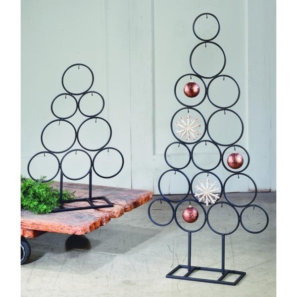 Metal Tabletop Christmas Tree: Shop Metal Circle Tree Ornament Display, Set Of 2