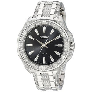 Seiko SNE457 Men's Crystal Adorned Solar Powered Stainless Steel Date Watch - Silver