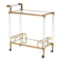 Zuo Existential Gold Finish Stainless Steel, Lucite, and Tempered Glass Bar Cart
