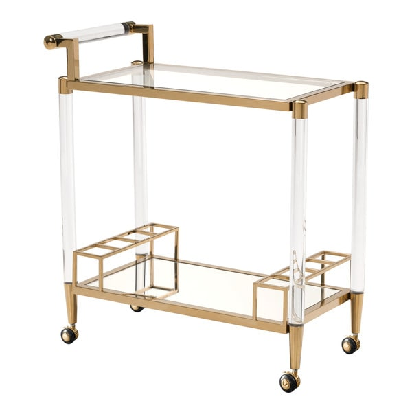 Silver Orchid Garvin Gold Tempered Glass Bar Cart