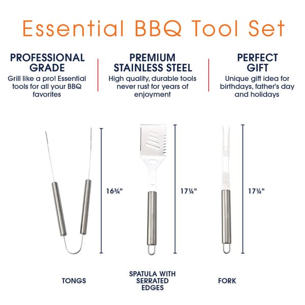 Cheer Collection 3 piece BBQ Grilling Tool Set