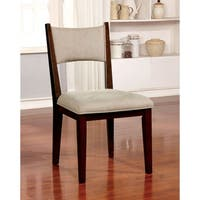 Kiara Mid-Century Modern Brown Cherry Wood and Tan Fabric Upholstered Dining Chair (Set of 2)
