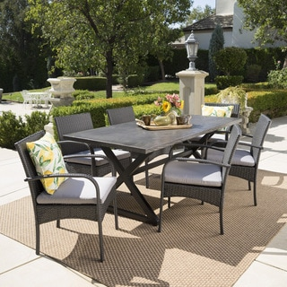 Link to Ashworth Outdoor 7-piece Rectangular Wicker Aluminum Dining Set with Cushions by Christopher Knight Home Similar Items in Patio Furniture