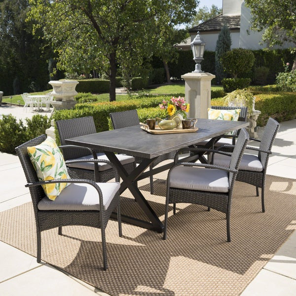 Ashworth Outdoor 7-piece Rectangular Wicker Aluminum Dining Set with Cushions by Christopher Knight Home. Opens flyout.