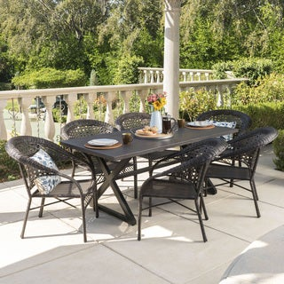 Sotto Outdoor 7-piece Rectangular Wicker Aluminum Dining Set by Christopher Knight Home