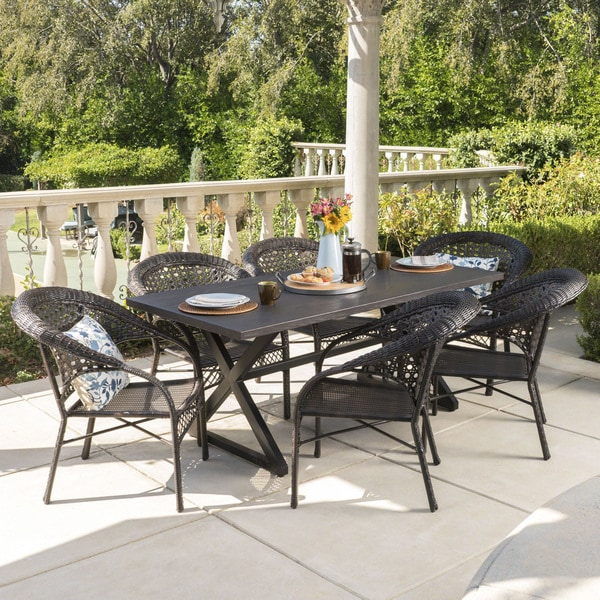 Sotto Outdoor 7-piece Rectangular Wicker Aluminum Dining Set by Christopher Knight Home. Opens flyout.